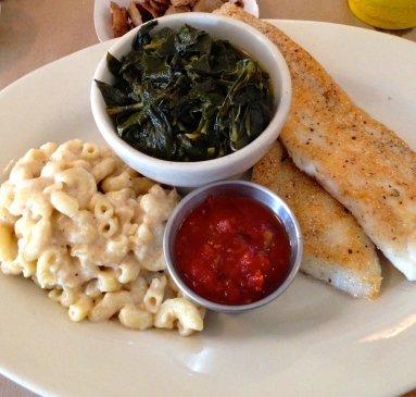 Cornmeal Crusted Flounder served with Mac & Cheese, Collard Greens and Tomato Jam, at Hominy Grits in Charleston
