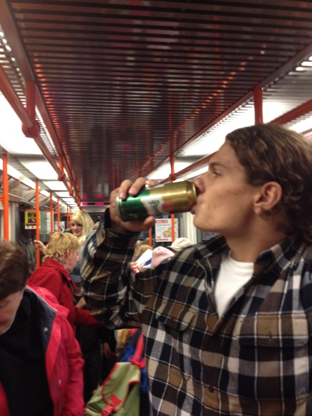 Sipping on a cold one in the subway in Prague - those Czechs like their beer anywhere and everywhere
