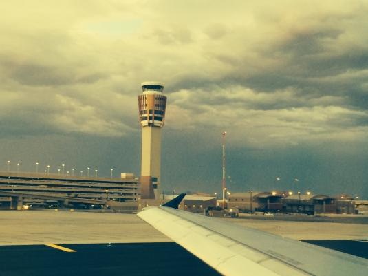 Taking off in ominous skies in Phoenix enroute to Kansas City on US Airways