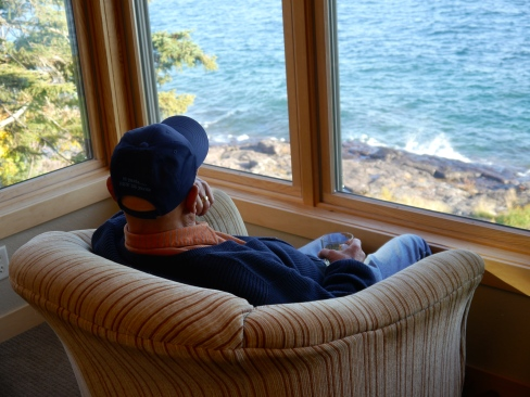 The Thinker a/k/a my Dad, Gpa, Grand-snappy - sits overlooking the shores of Lake Superior as he contemplates 80 years of amazing memories!