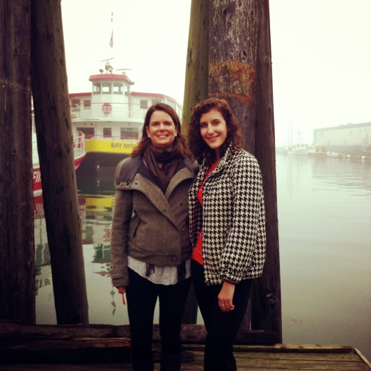 Taking a pit stop in fog shrouded Portland, Maine on our New England road trip