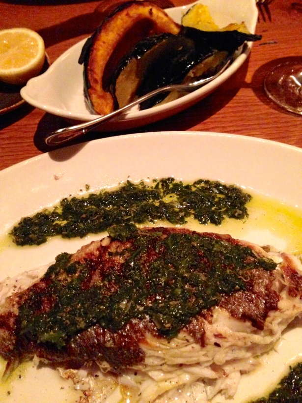 Freshly de-boned blackened sea bass with a side of acorn squash at Barchetta in Chelsea.
