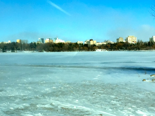 Looking across Wascana Lake at the Regina skyline