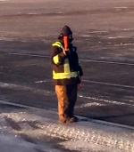 Bundling up to work outside in the freezing temps at the Regina, SK airport.