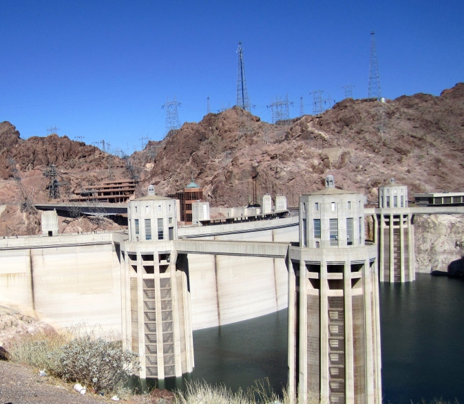 Hoover Dam, built in the 1930's straddles on the Colorado River on the Nevada-Arizona border