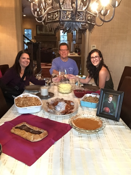 Our son was not able to join us for Thanksgiving dinner as he had college basketball commitments.