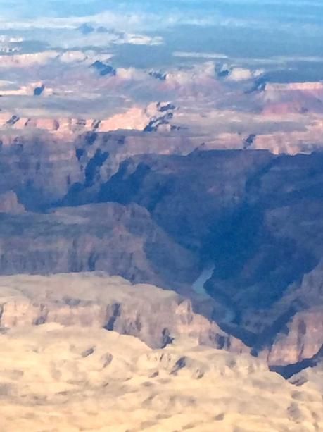 Western edge of the Grand Canyon heading towards Las Vegas from Phoenix