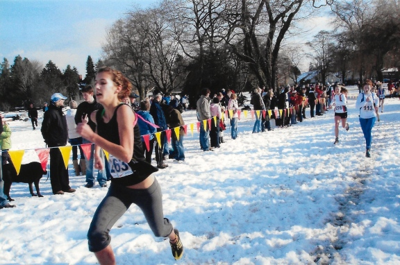 "Running a cross country race on a warm sunny day through Stanley Park in Vancouver a day after 8"" of snow dropped."