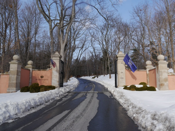 Entrance to Glenmere Mansion, showcasing a Relais & Chateaux flag