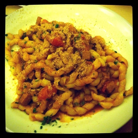 A spicy red sauce pasta served up in a southern Italian town.