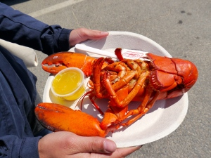 A full lobster served up fresh at Larsen's Fish Market in Chilmark on Martha's Vineyard.
