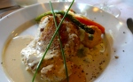 Halibut with a panko crust served on a bed of mash potatoes and a light creamy sauce at Lambert's Cove Inn, Lambert's Cove, MV.