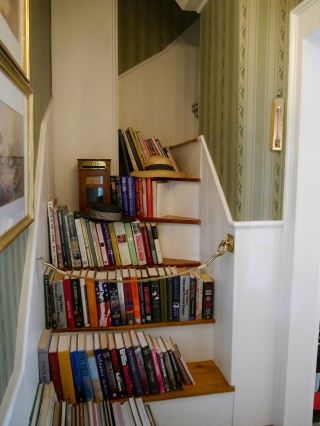 The collection of books in our room, sitting on the steps of a stairway to nowhere.