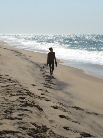 My daughter walking the Katama Beach, on the southern edge of Martha's Vineyard.