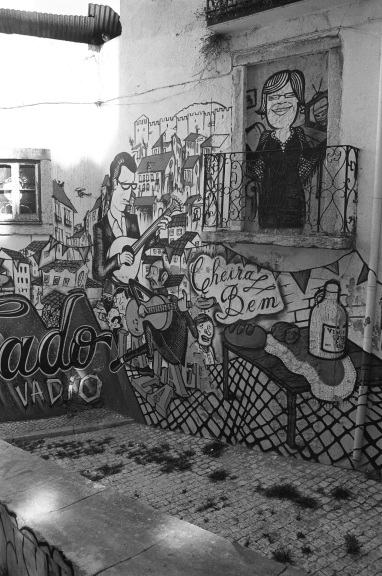 Fado graffiti near our Airbnb.