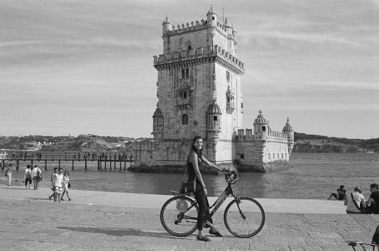 In front of Belem Tower, Lisbon.